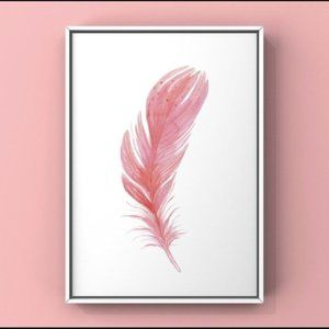 Pink watercolor feather abstract modern art Print